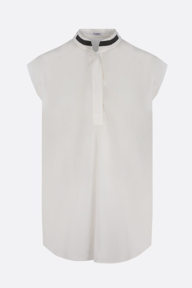 BRUNELLO CUCINELLI: monili-detailed silk sleeveless blouse Color Neutral_1