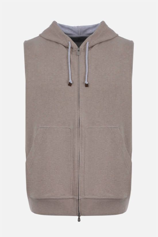 BRUNELLO CUCINELLI: full-zip cotton blend sleeveless hoodie Color Brown_1
