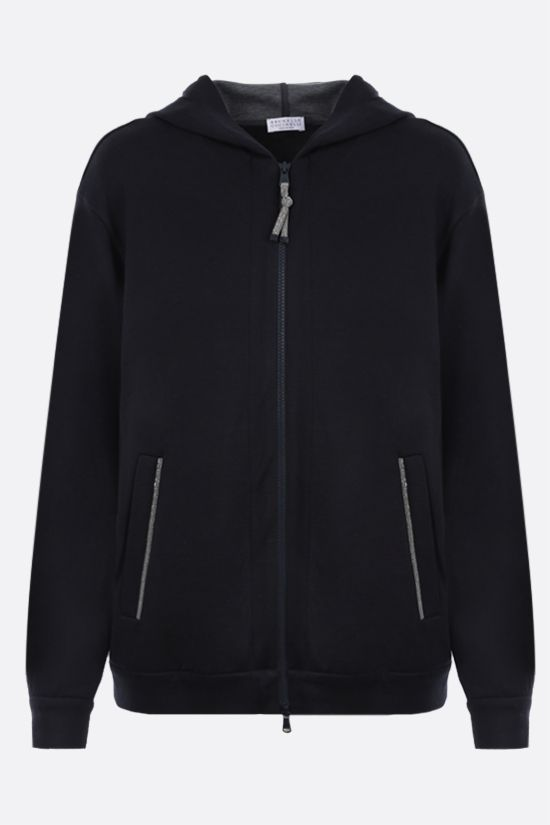 BRUNELLO CUCINELLI: monili-detailed cotton silk blend full-zip hoodie Color Blue_1