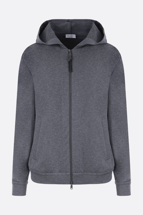 BRUNELLO CUCINELLI: monili-detailed full-zip jersey hoodie Color Grey_1