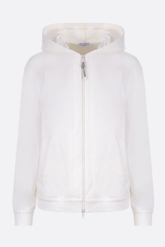 BRUNELLO CUCINELLI: monili-detailed full-zip jersey hoodie Color White_1