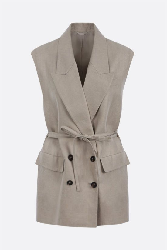 BRUNELLO CUCINELLI: double-breasted linen waistcoat Color Neutral_1