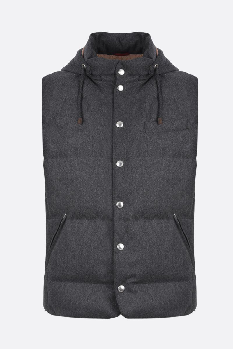 BRUNELLO CUCINELLI: wool, silk and cashmere sleeveless down jacket Color Grey_1