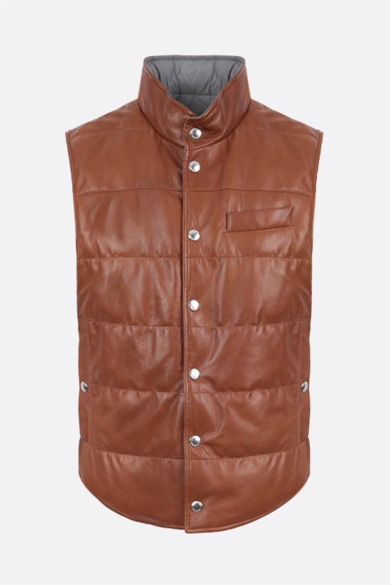 BRUNELLO CUCINELLI: reversible don-padded vest in leather and nylon Color Neutral_1