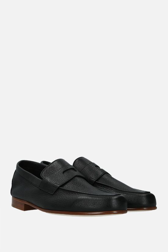 JOHN LOBB: Hendra grainy leather loafers Color Black_2