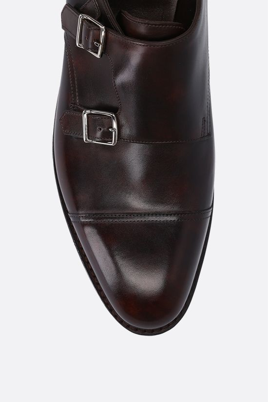 JOHN LOBB: William shiny leather monk strap shoes Color Brown_4