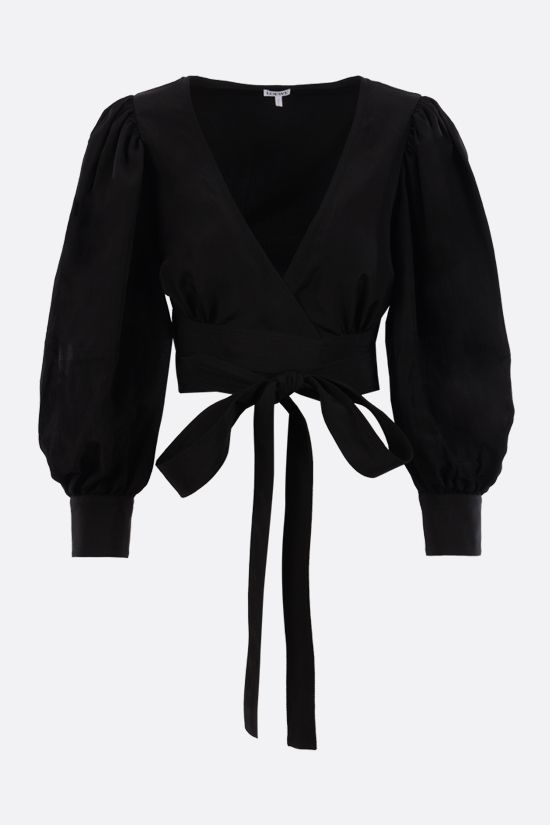 LOEWE: top cropped in misto lino Colore Nero_1