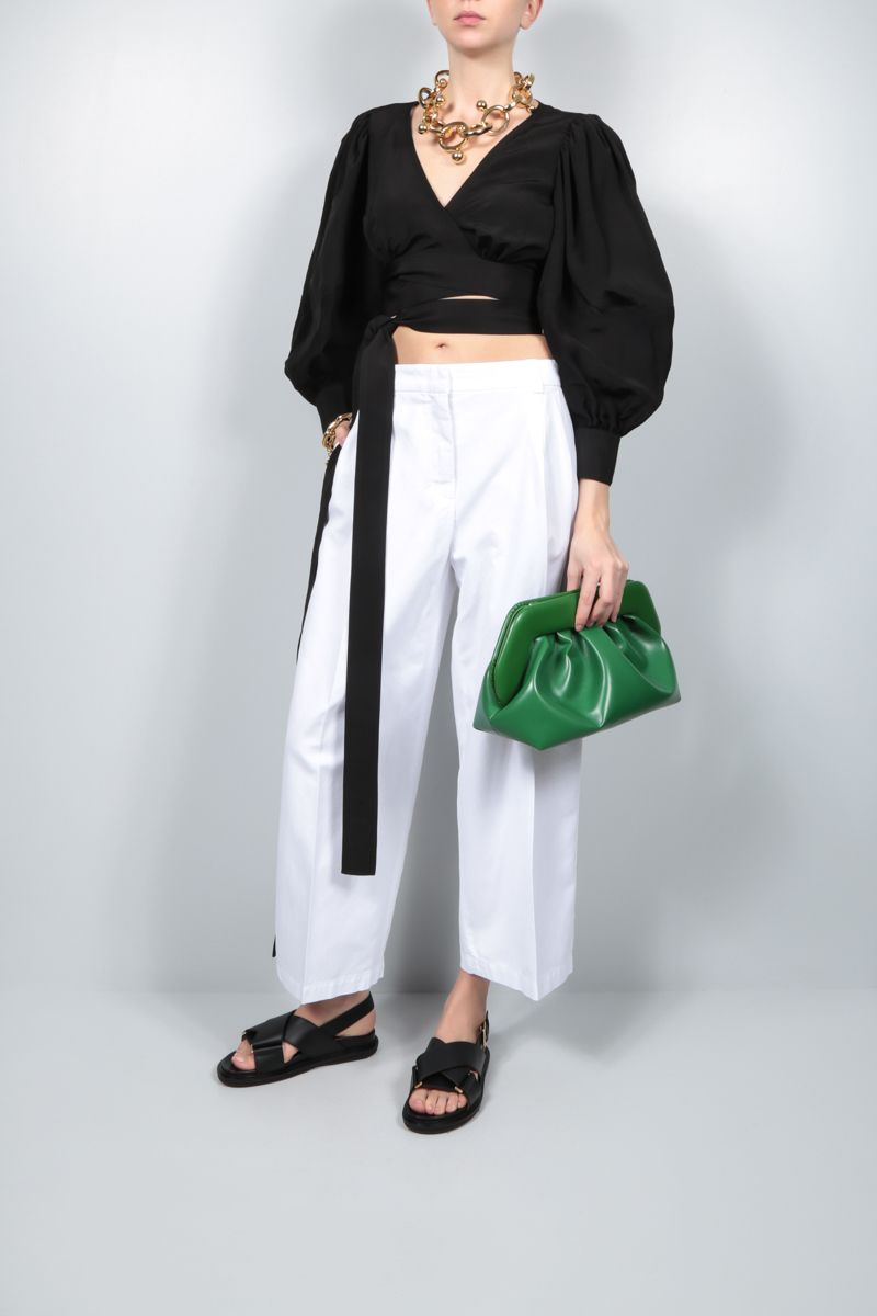 LOEWE: linen blend cropped wrap top Color Black_2