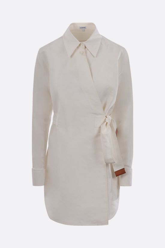 LOEWE: linen silk blend wrap shirt Color Neutral_1