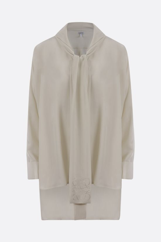 LOEWE: Anagram lavallière-detailed silk shirt Color Neutral_1