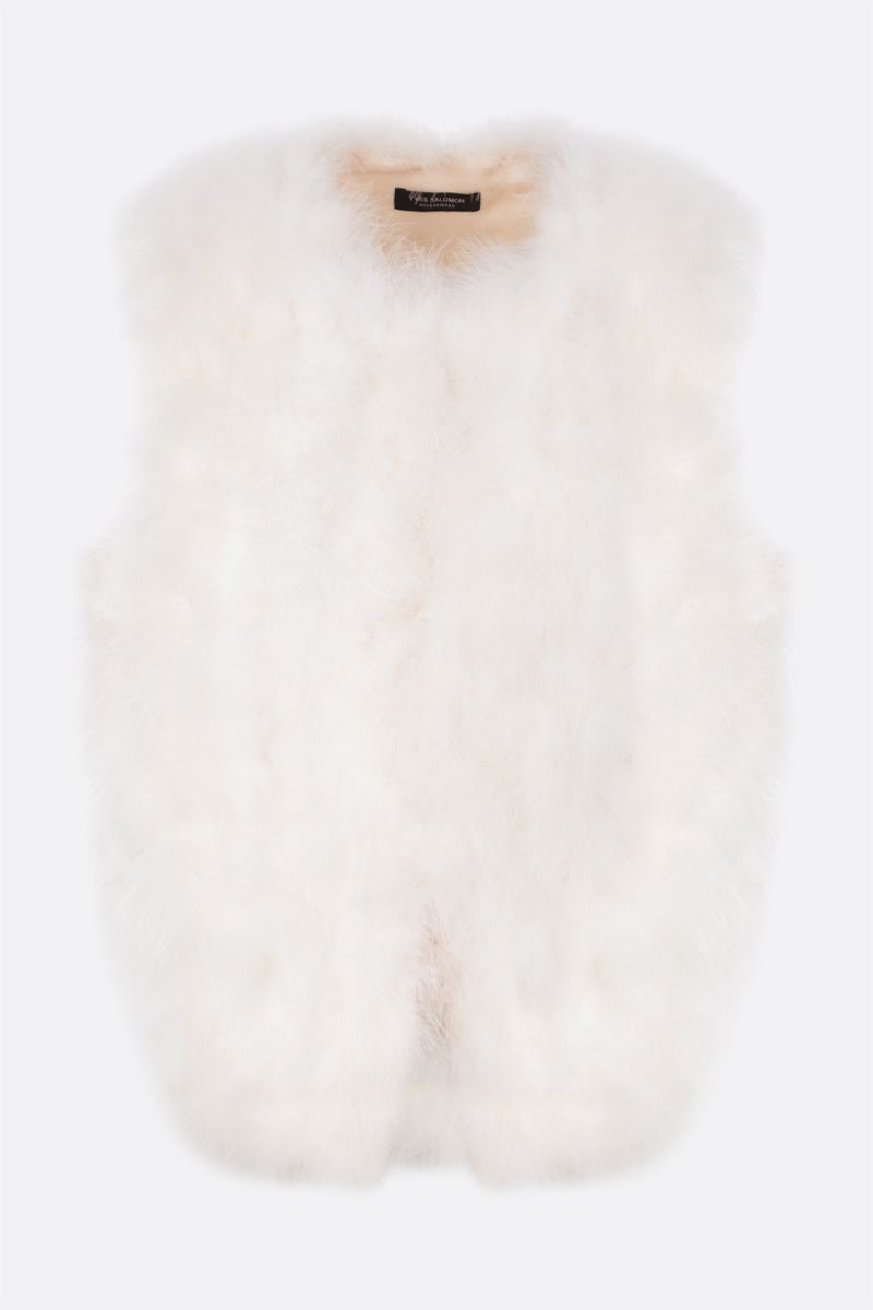 YVES SALOMON: feather-embellished fabric waistcoat Color White_1