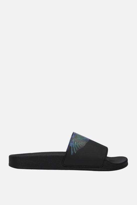 MARCELO BURLON COUNTY OF MILAN: Wings rubber slide sandals Color Black_1
