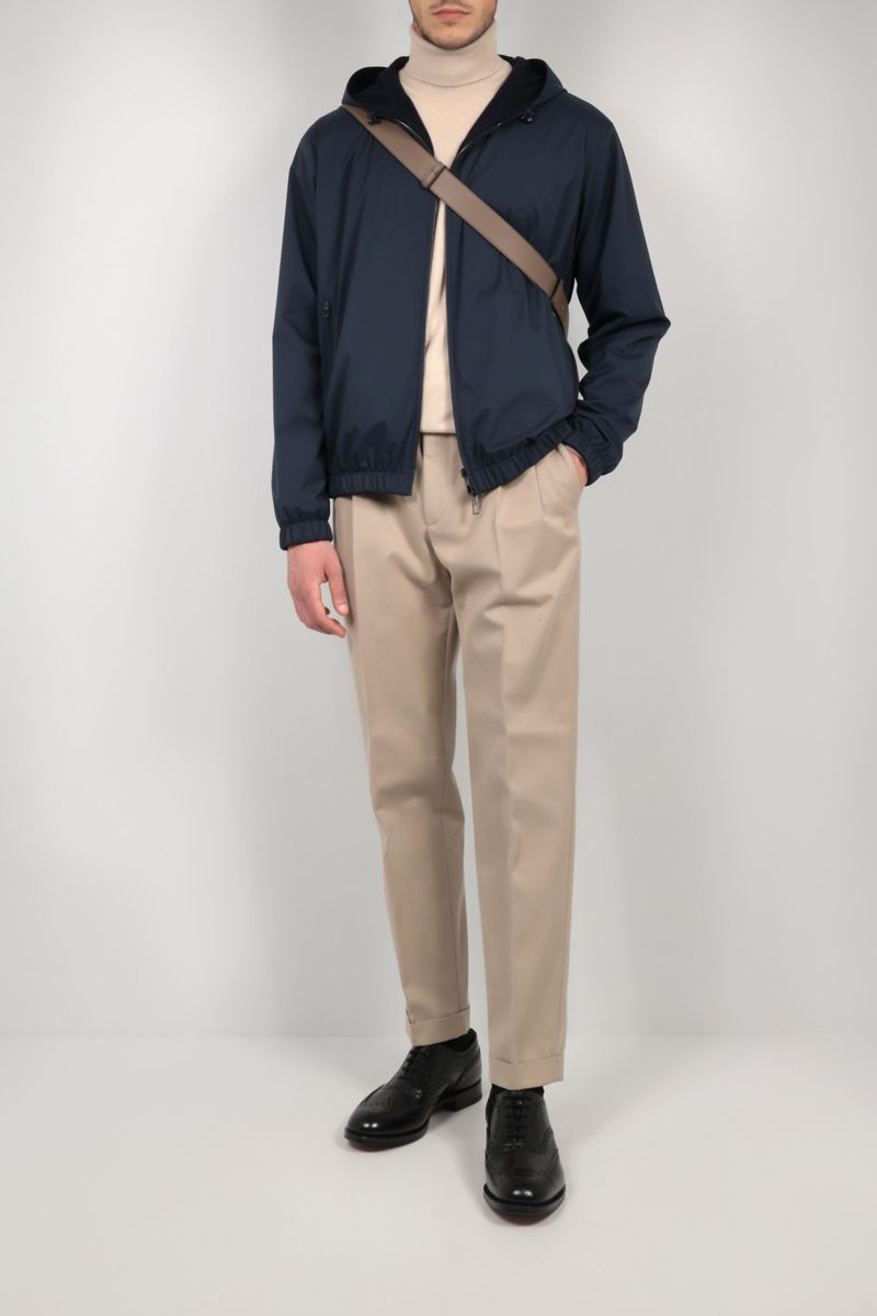 LORO PIANA: Windmate® reversible bomber jacket in microfibre and cashmere Color Blue_2