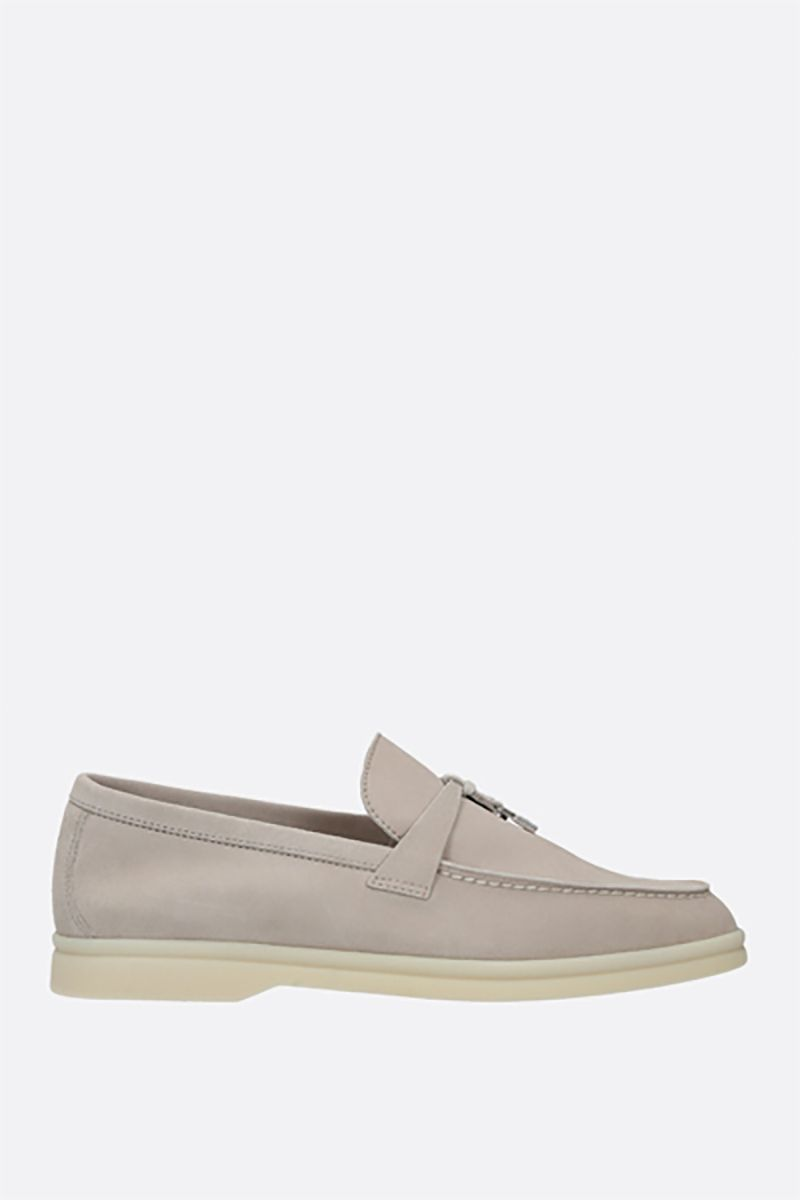 LORO PIANA: Summer Charms Walk suede loafers Color White_1
