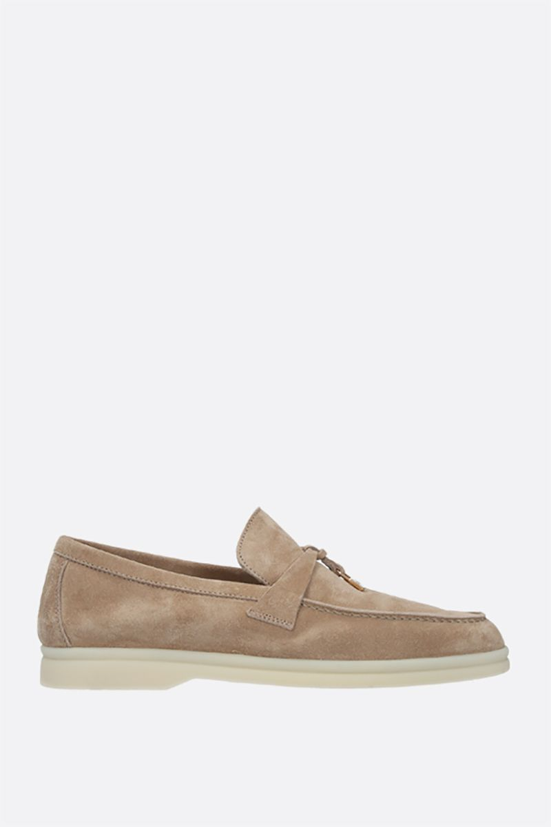LORO PIANA: Summer Charms Walk suede loafers Color Neutral_1