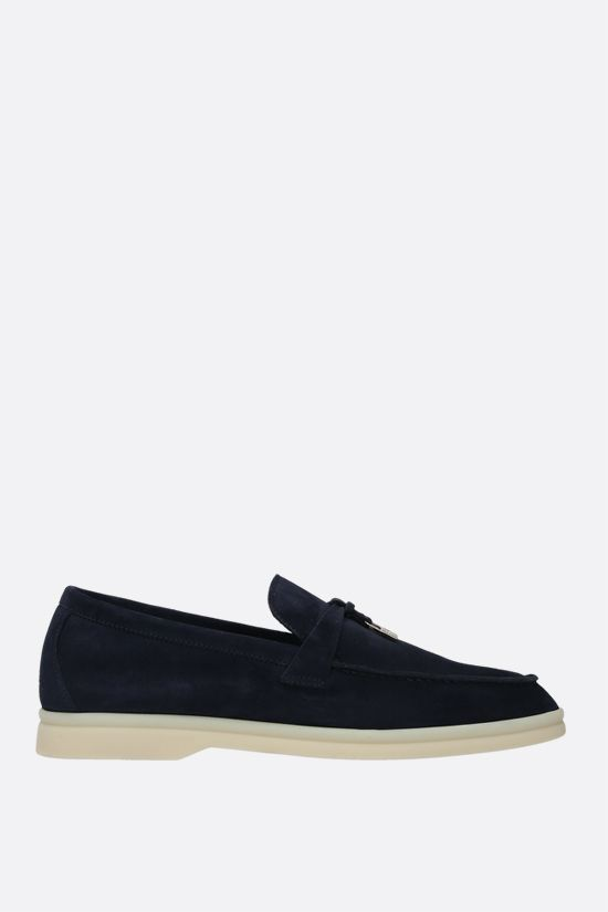 LORO PIANA: Summer Charms Walk suede loafers Color Blue_1