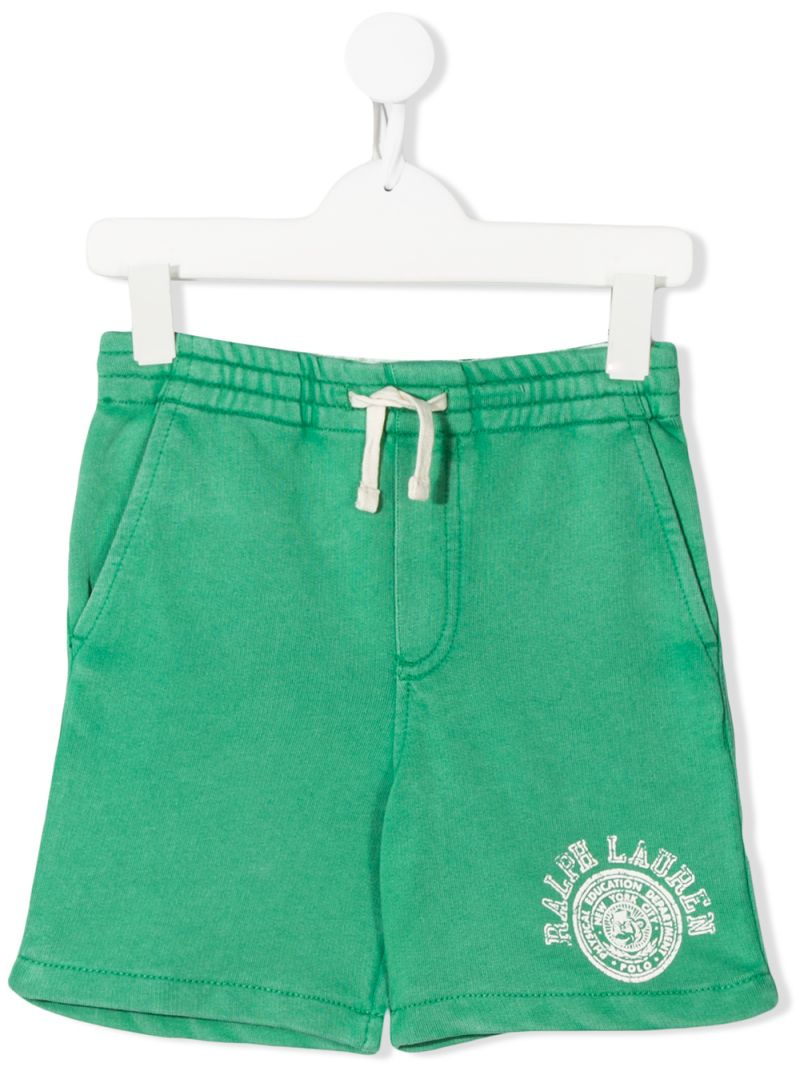RALPH LAUREN KIDS: logo print cotton shorts Color Green_1