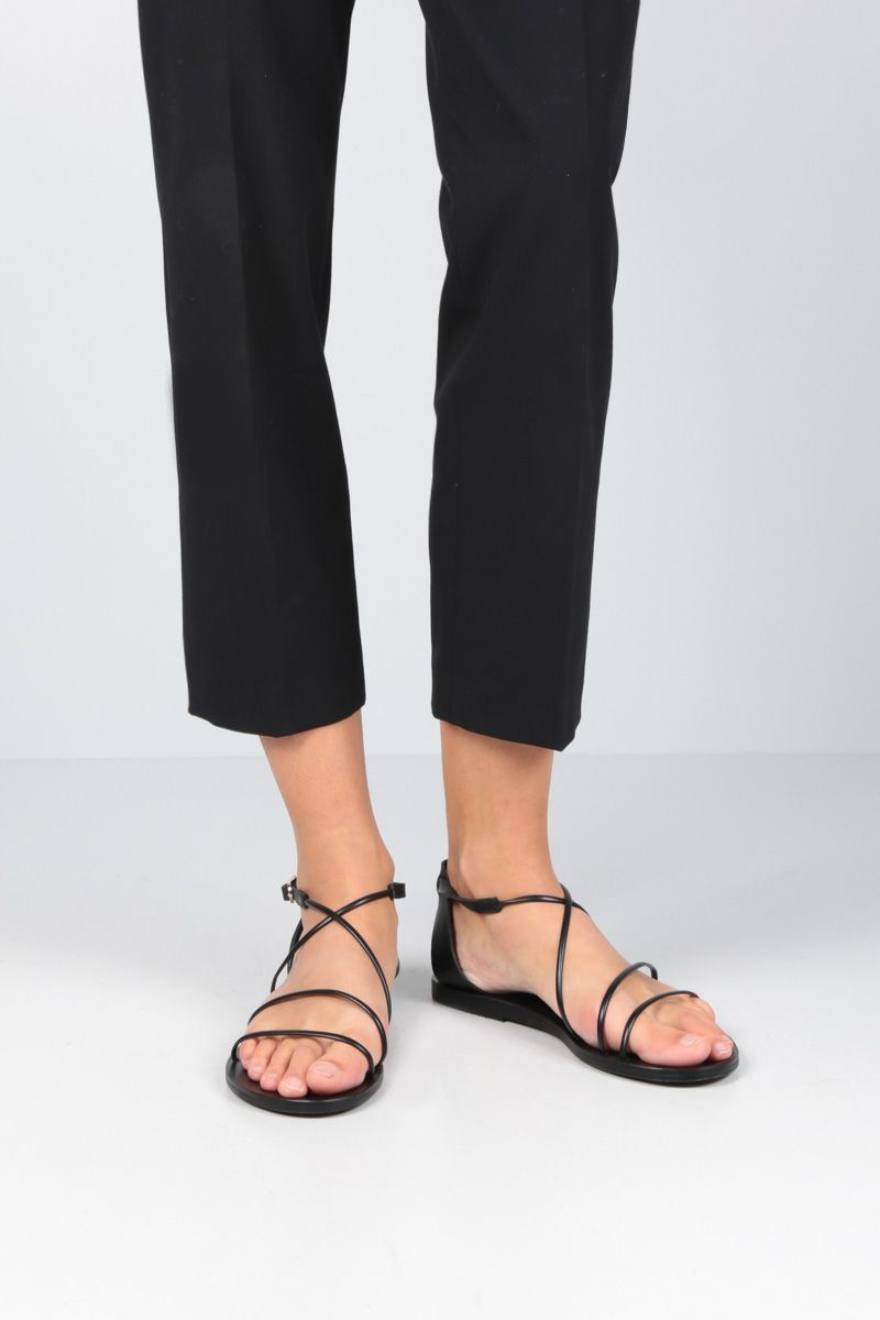 ANCIENT GREEK SANDALS: Meloivia flat sandals in smooth leather Color Black_2