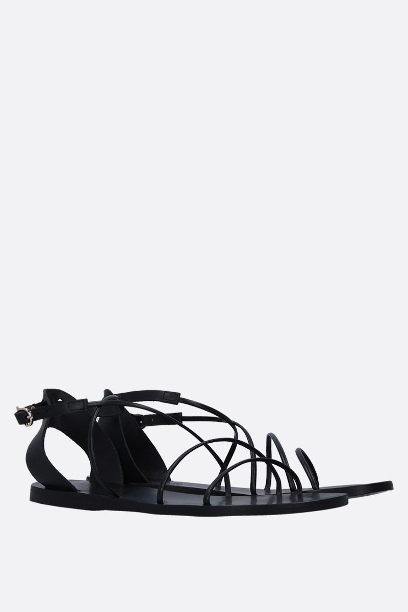 ANCIENT GREEK SANDALS: Meloivia flat sandals in smooth leather Color Black_3