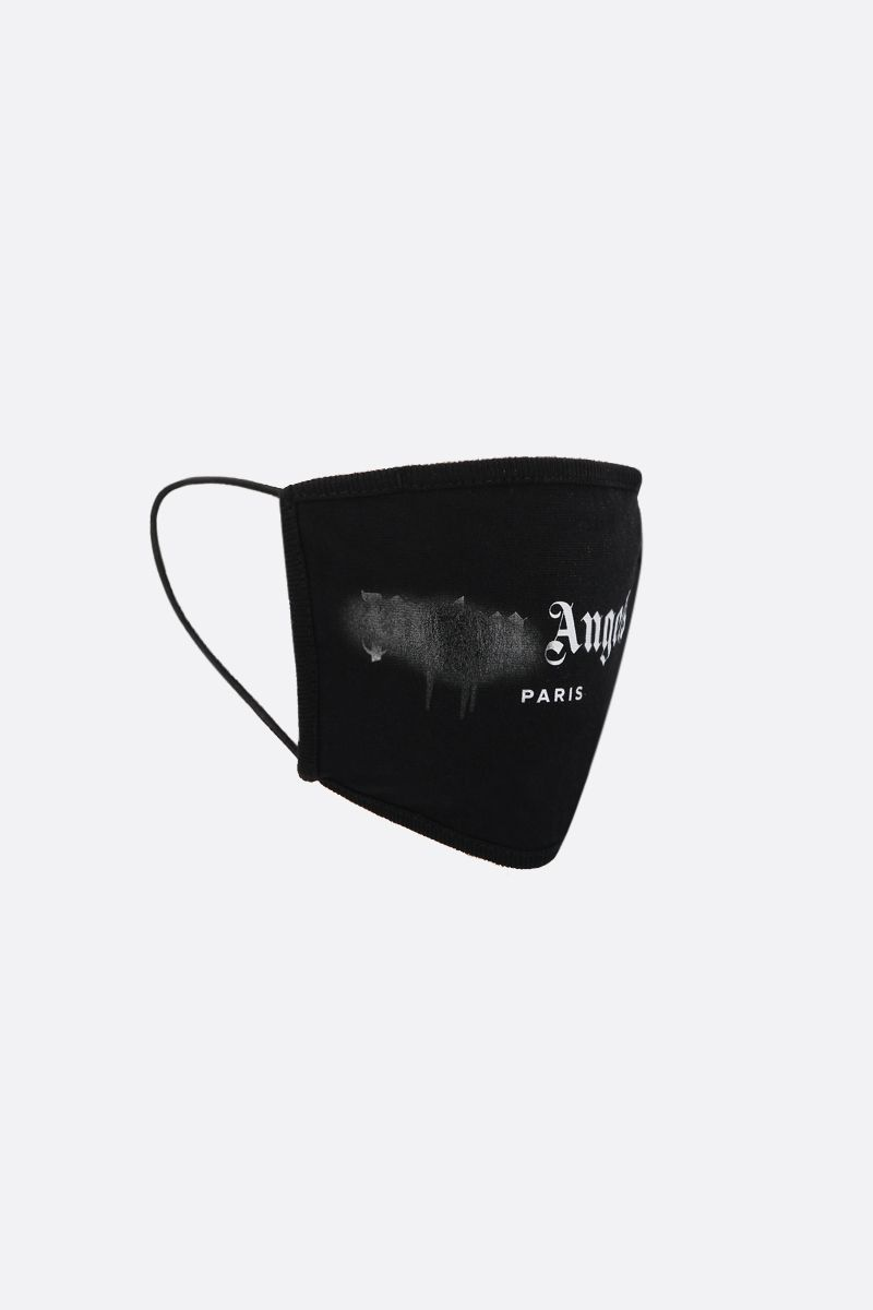 PALM ANGELS: Paris Sprayed Logo print cotton face mask Color Black_2