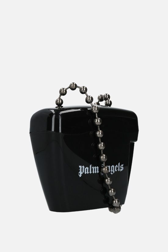 PALM ANGELS: Padlock mini poyipropylene crossbody bag Color Black_2