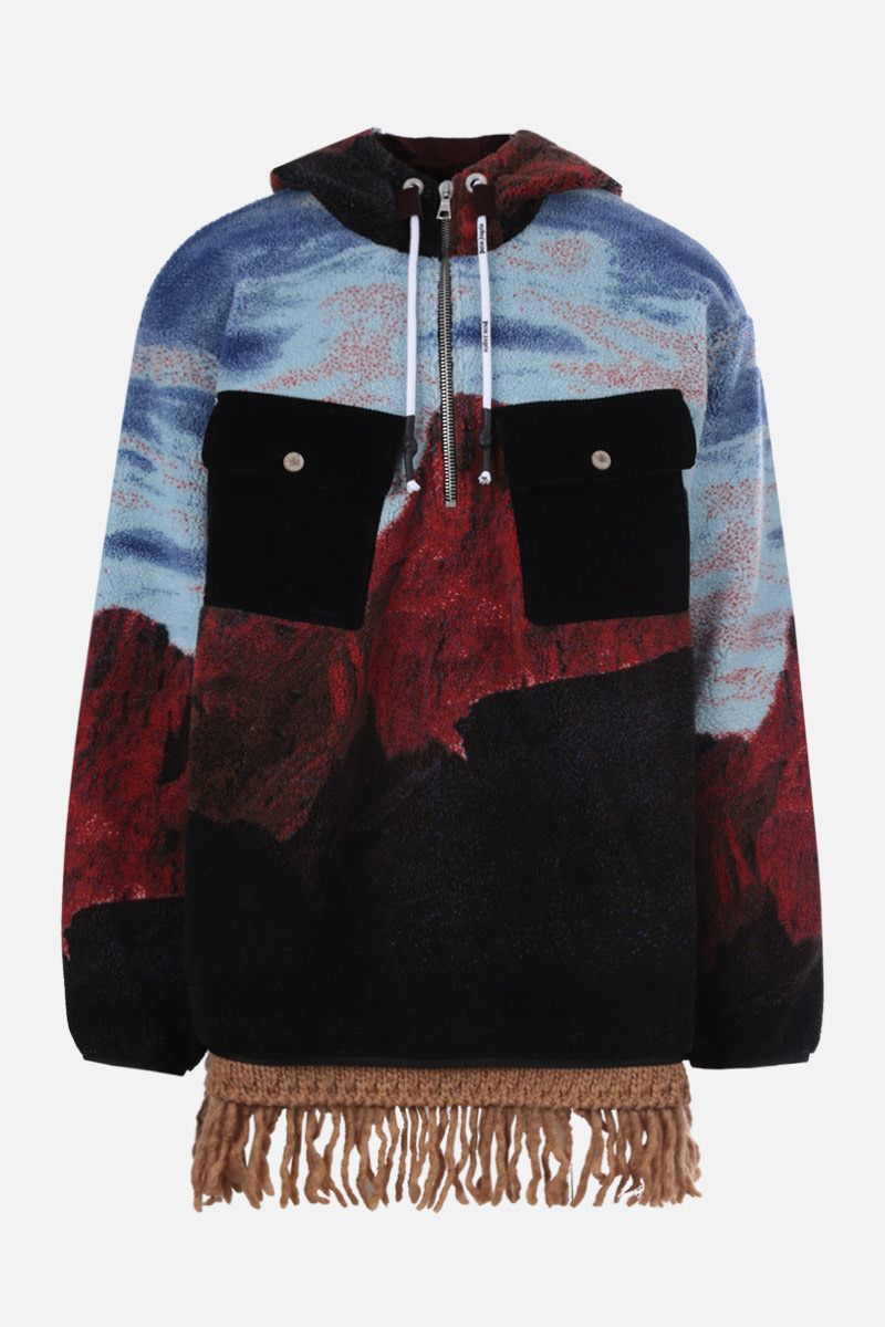 PALM ANGELS: Canyon print fleece oversize jacket Color Blue_1
