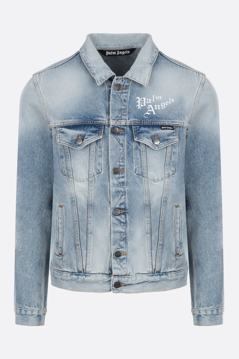 PALM ANGELS: Sacred Heart denim jacket Color Blue_1