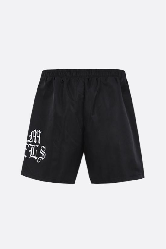 PALM ANGELS: Gothic Logo nylon shorts Color Black_2