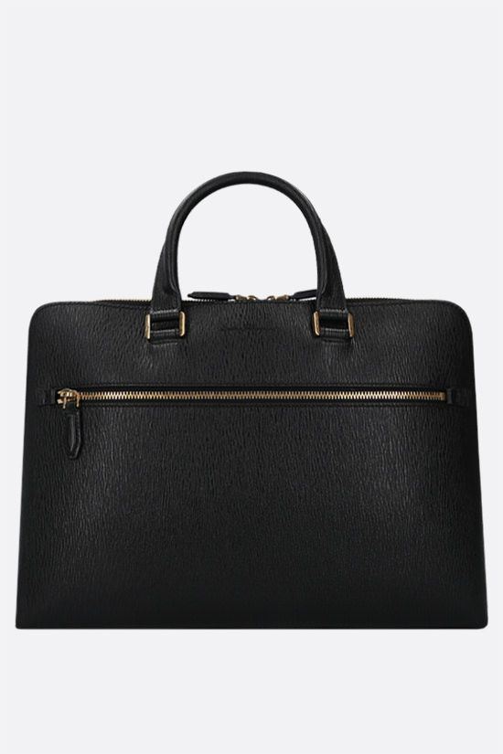 SALVATORE FERRAGAMO: Revival 3.0 textured leather business bag Color Black_1