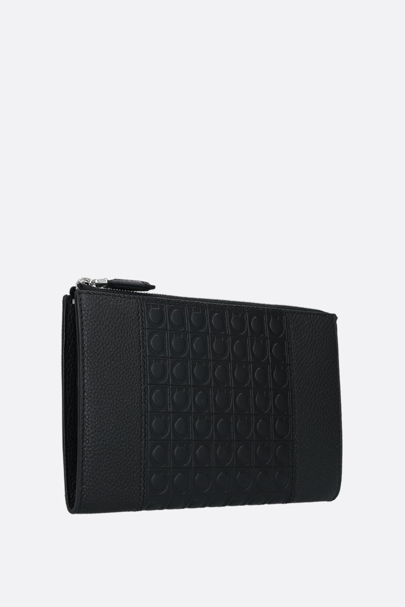 SALVATORE FERRAGAMO: Gancini-detailed grainy leather document holder Color Black_2
