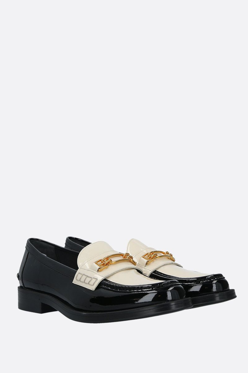 BALLY: Elodie bicolour patent leather loafers Color Black_2