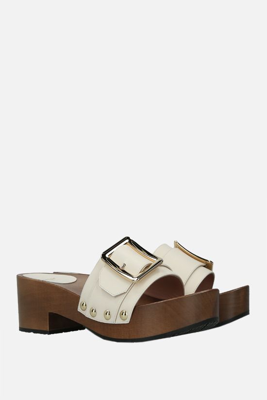 BALLY: Ellin smooth leather platform sandals Color Neutral_2