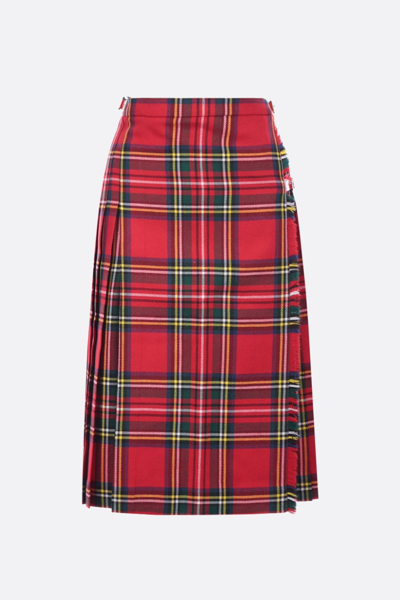 MOLLY GODDARD: Aria check wool wrap skirt Color Red_1