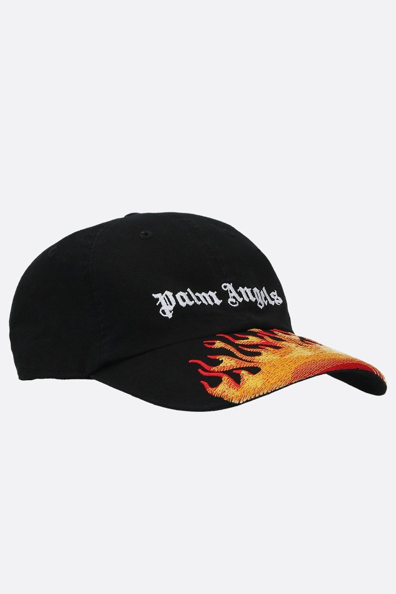 PALM ANGELS: Burning gabardine baseball cap Color Black_2