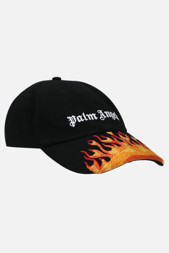 PALM ANGELS: cappello baseball Burning in cotone Colore Nero_2