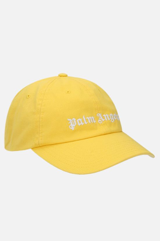 PALM ANGELS: logo embroidered cotton baseball cap Color Yellow_2