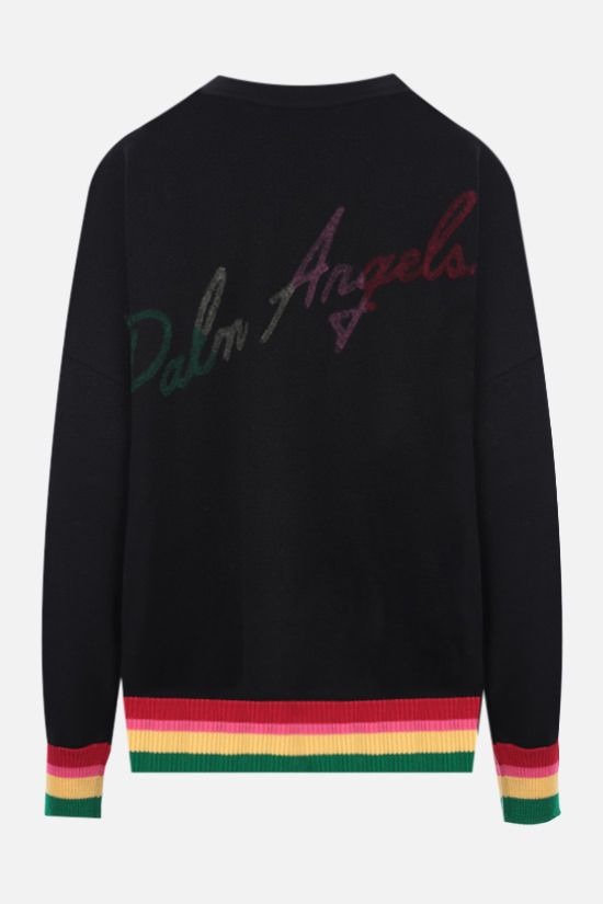 PALM ANGELS: cardigan oversize Miami Logo in lana Colore Nero_2