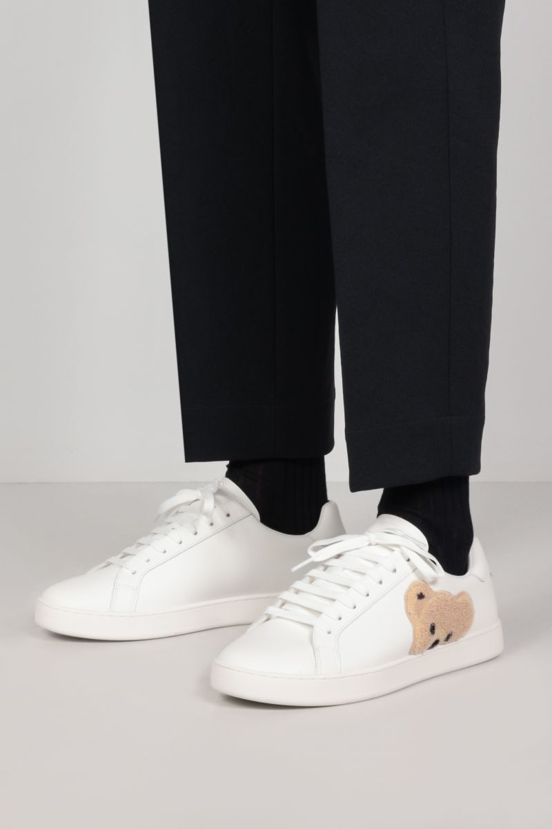 PALM ANGELS: New Teddy Bear smooth leather sneakers Color White_2