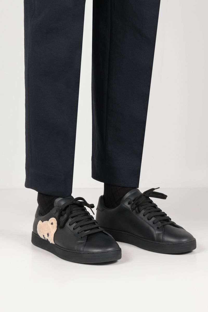 PALM ANGELS: New Teddy Bear smooth leather sneakers Color Black_2