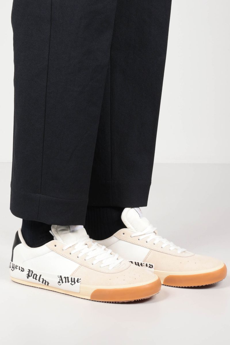 PALM ANGELS: Vulcanized suede and smooth leather sneakers Color White_2