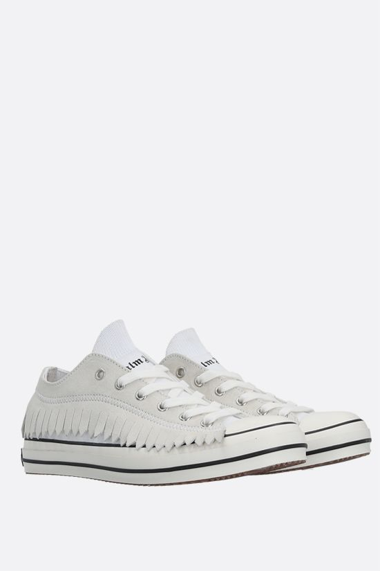PALM ANGELS: Fringe stretch knit and suede sneakers Color White_2