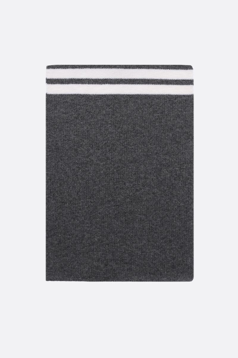 THOM BROWNE: 4-bar detailed wool scarf Color Grey_1