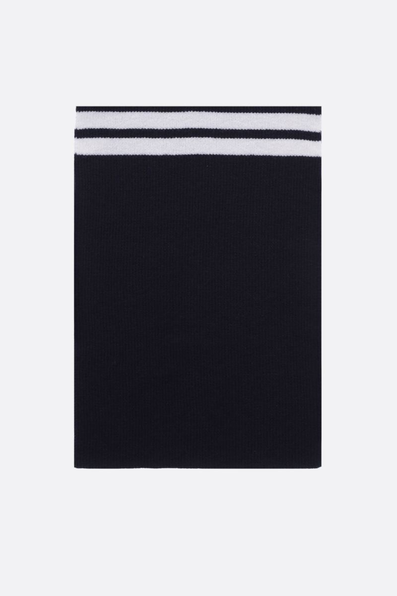 THOM BROWNE: 4-bar detailed wool scarf Color Blue_1