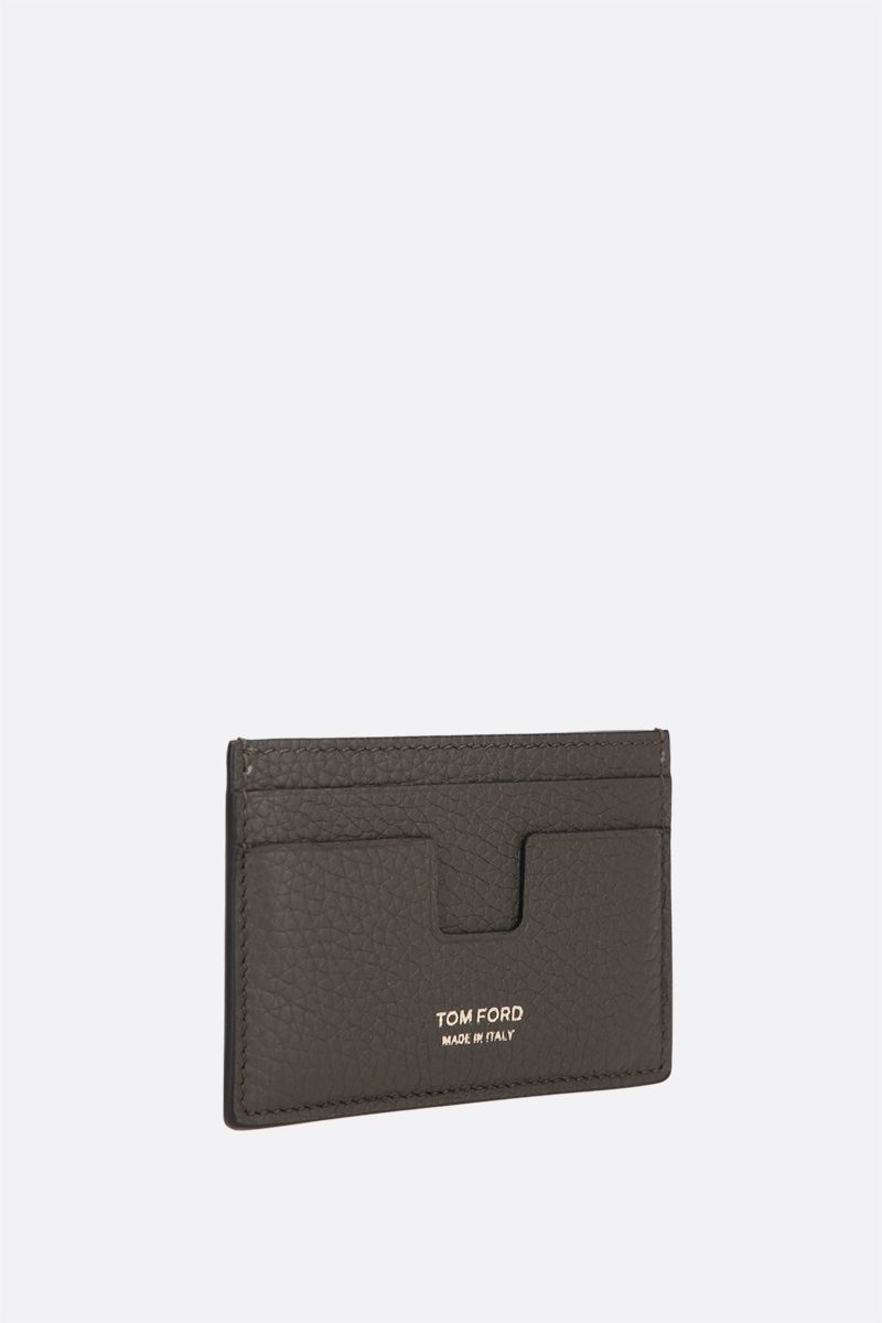 TOM FORD: T Line grainy leather card case Color Green_2