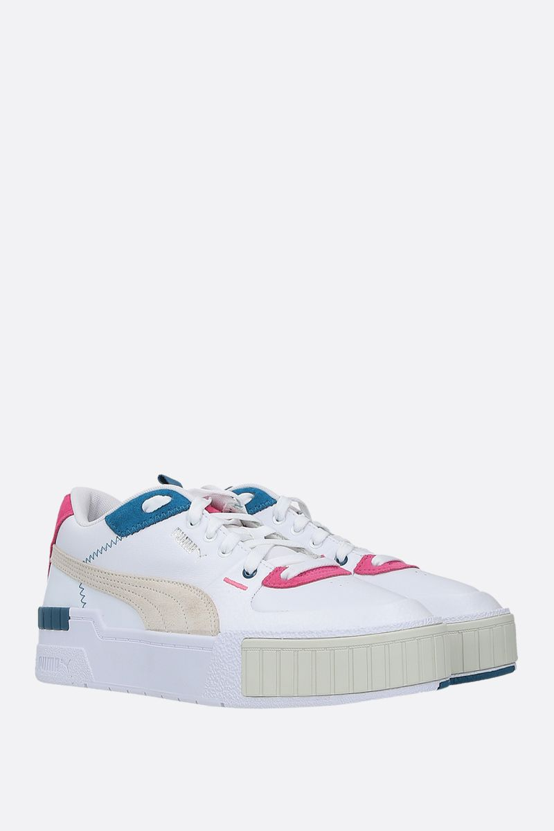 PUMA: Cali Sport Mix smooth leather and suede sneakers Color White_2