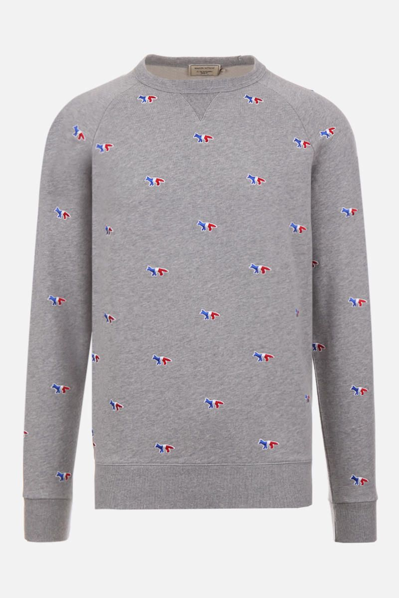 MAISON KITSUNÈ: Tricolor Fox embroidered cotton sweatshirt Color Grey_1