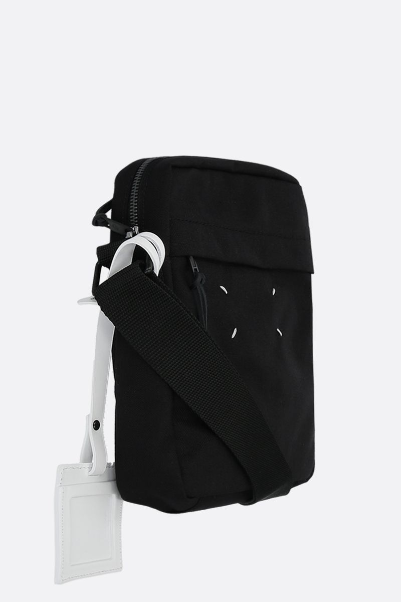 MAISON MARGIELA: borsa a tracolla in nylon con porta badge Colore Nero_2