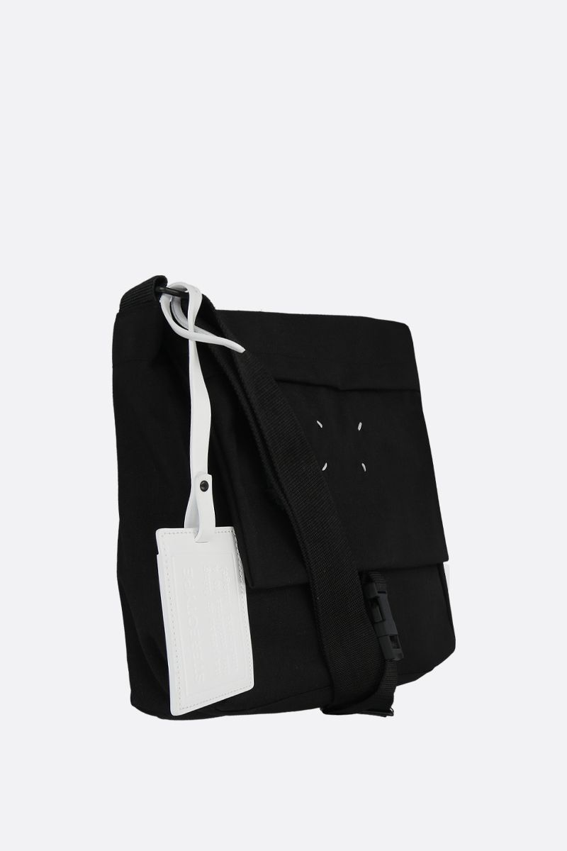 MAISON MARGIELA: borsa messenger in nylon con porta badge Colore Nero_2