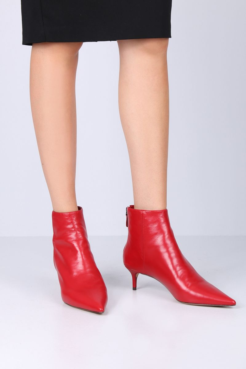 ALEXANDRE BIRMAN: Kittie ankle boots in soft nappa Color Red_2