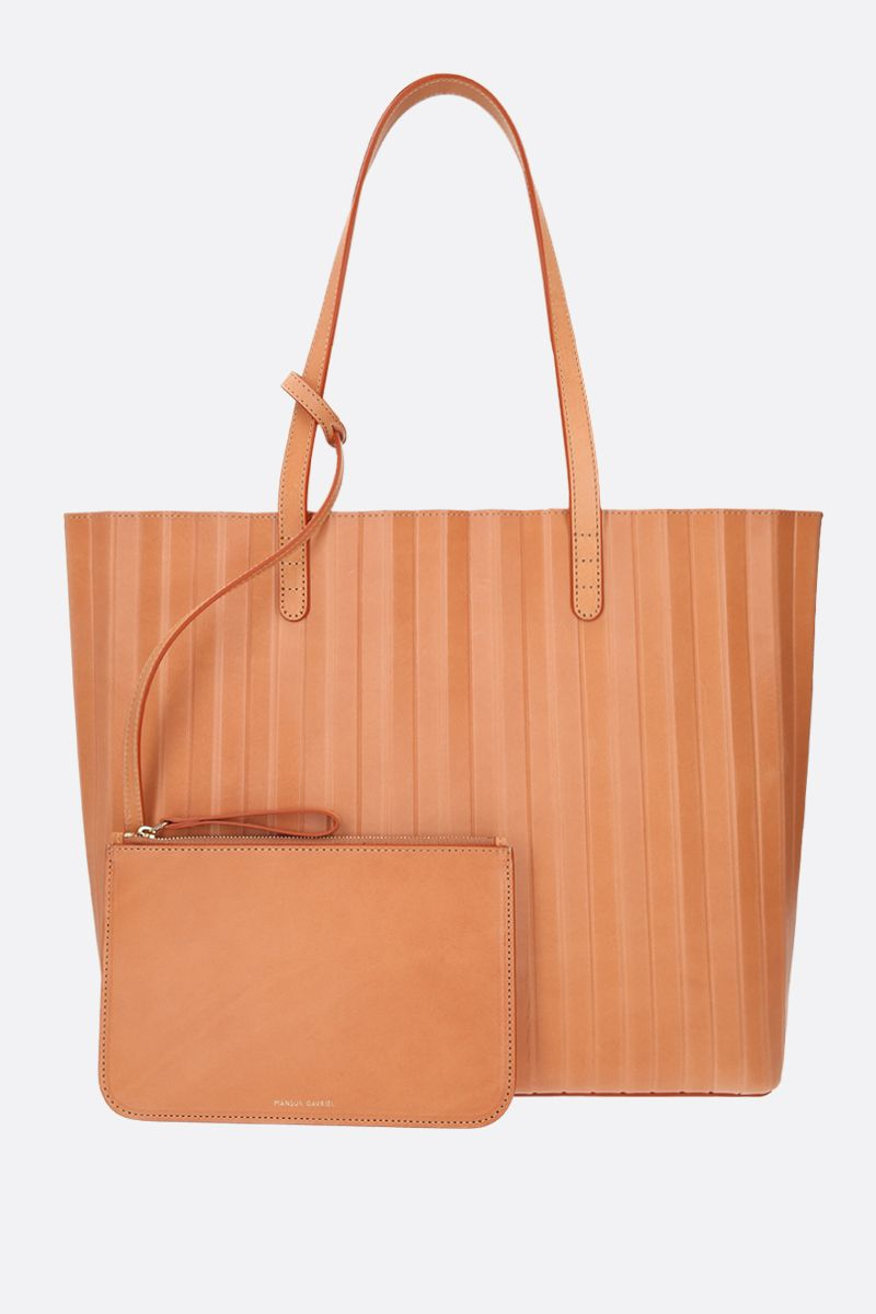 MANSUR GAVRIEL: Pleated smooth leather tote Color Orange_2